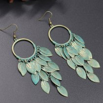 Ornament Wholesale European and American Exaggerated Leaf Multi-Layer Earrings Alloy Earring Fashion Retro Ethnic Style Popular