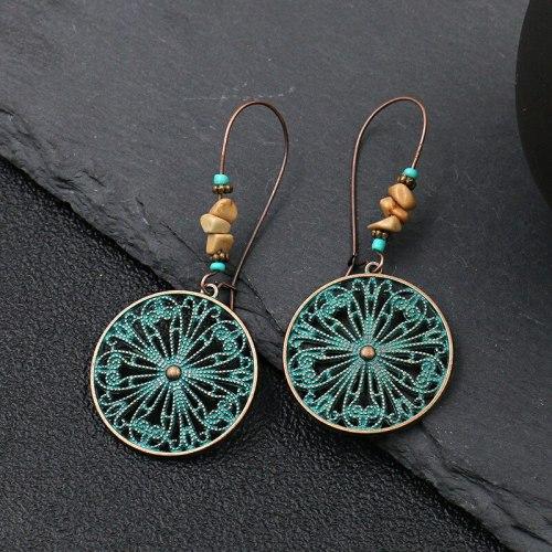 Fashion Hot Sale Retro Circular Earrings Female Creative Flowers Alloy Earrings European and American Popular Earrings Jewelry