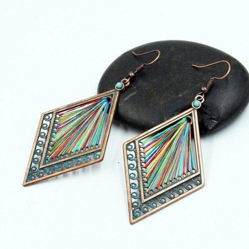 Creative Retro Hollow Diamond Alloy Earring Women's Colorful Woven Earrings European and American Popular Handmade Ornament