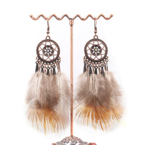 European and American Fashion Flower Alloy Diamond Earrings Personality Feather Chain Tassel Earrings Ladies Exaggerated Jewelry