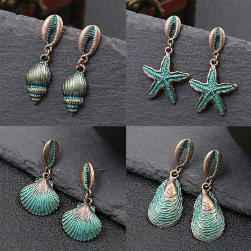 Europe and America Cross Border New Female Metal Alloy Earrings Shell Starfish Retro Personality and Minimalism Eardrop Earring