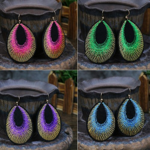 Cross-Border European and American Retro Ethnic Style Fabric Embossed Oval Gold Silk Peacock Feather Embroidery Tassel Earrings