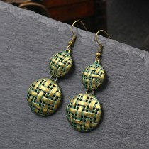 Vintage Distressed Hollow Stud Earrings Personality Stylish round Earrings Woven Texture Alloy Earring Factory Wholesale