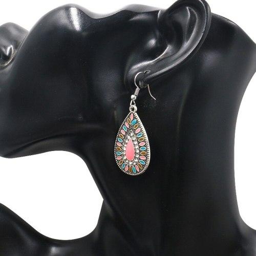 Cross-Border Europe and America Creative Alloy Enamel Earrings Women's Long Water-Drop Eardrops Wholesale