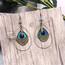 Bohemian Hot Sale Feather Earrings Personality Peacock Feather Ornaments Long Water Drop Ethnic Earrings Wholesale