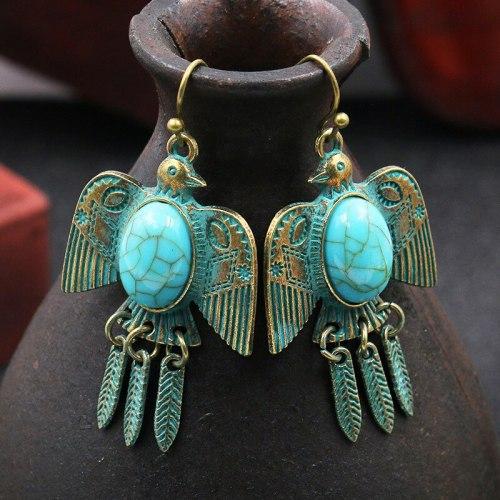 Cross-Border Vintage Earrings Long Flying Bird Eagle Leaves Turquoise Earrings Imitation Bronze Distressed Animal Shape Earrings