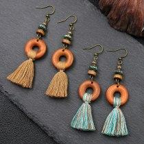 Personalized Fashionable All-Match Long Fringe Earrings Creative Wooden Earrings European and American Earrings Ornament