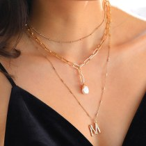 European-Style Multi-Layer Necklace Women's Fashion Small Letter Pendant Personalized Natural Pearl Accessories