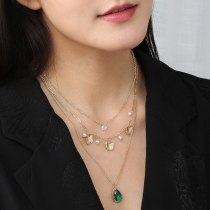 European New Butterfly Necklace Fashionable Elegant Exquisite Emerald Water Drop Zircon Multi-Layer Necklace for Women