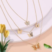 European and American Fashion Butterfly Pendant Necklace Elegant Simple Detachable Multi-Layer Necklace Women