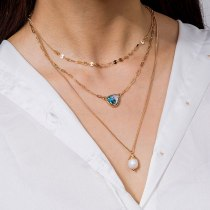Fashion New Natural Necklace Jewelry Freshwater Pearl Women's Pendant Multi-Layer Necklace