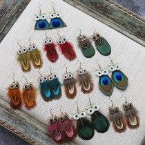 Cross-Border Hot Sale Owl Earrings Women's Popular Feather Earrings Long European and American Creative Ornament