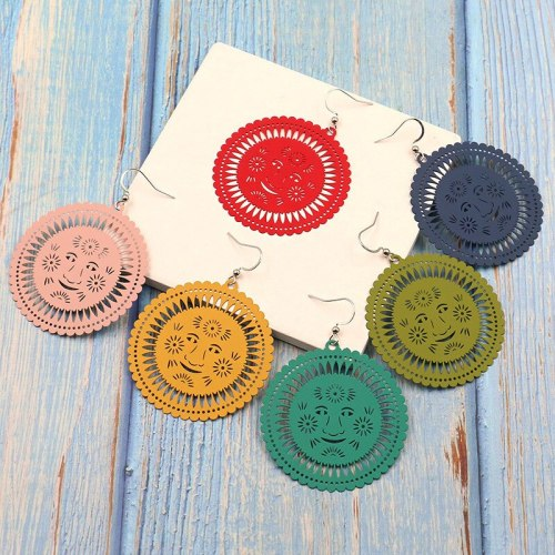 European and American Color Metal Alloy Earrings Female Smiley Flower round Geometric Candy Color Earrings Wholesale