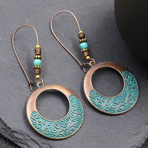 Retro Distressed Metal Alloy Earrings Women's European and American Fashion Exaggerated Circular Earrings Personal Accessories