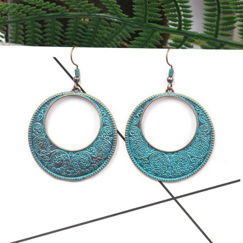 New Stylish round Hollow Alloy Pendant Earrings for Women European and American Ladies Exaggerated Long Jewelry Wholesale