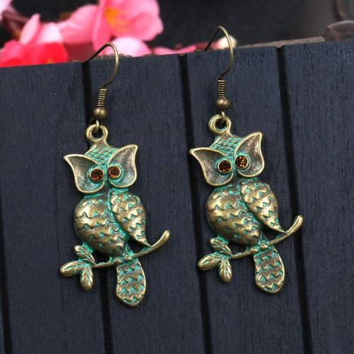 Hot Sale Personality Owl Earrings Female Long Retro Earrings European and American Trendy Jewelry Wholesale