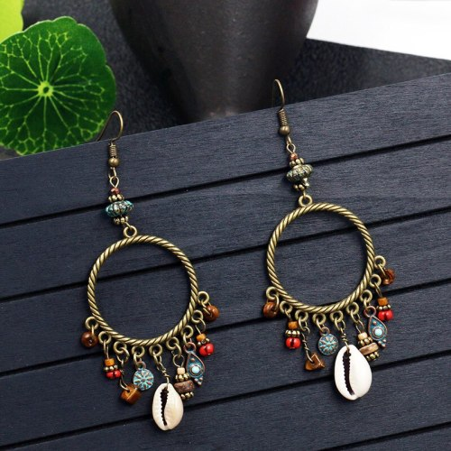 New Tassel Earrings Women's European and American Retro Large Circle Geometric Ring Earrings Shell Flower Turquoise Accessories