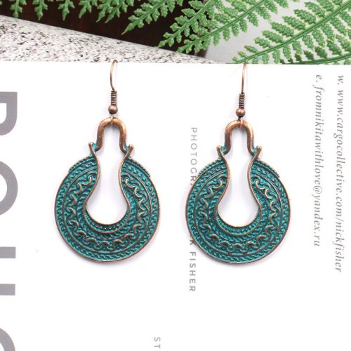 Fashion Geometry Pattern Alloy Earrings Vintage Earrings for Women All-Matching Graceful Simple Pattern Ear Rings Wholesale