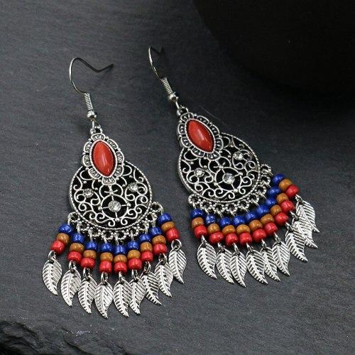 Bohemia Leaves Tassel Earrings for Women Vintage Hollow Beaded Alloy Earring Palace Style Long Jewelry Wholesale