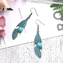 European and American Popular Long Alloy Eardrops Earrings Women's Retro Leaf Earrings Turquoise Accessories Trendy Jewelry