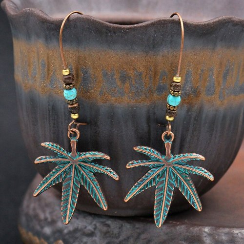 New European and American Fashion Large Earrings Ornament Wholesale Creative Leaf Alloy Eardrops Earrings Turquoise Accessories