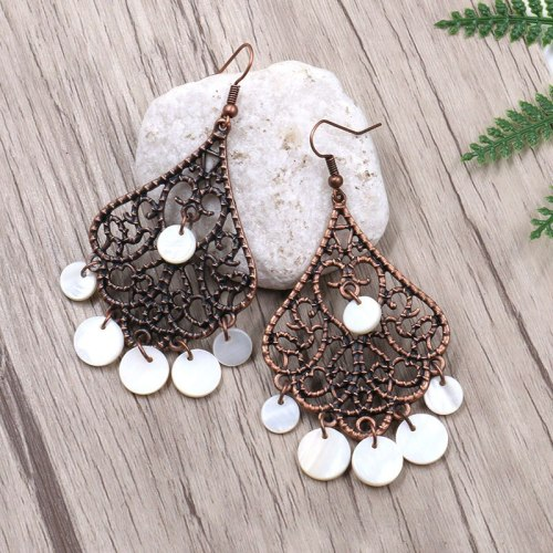 European and American Earrings Female Cross-Border Hot Sale Shell Tassel Earrings Female Long High Profile Rhombus Ornament