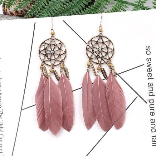 Korean Style New Feather Earrings Women's Long Elegant Dreamcatcher Japanese and Korean Tassel Earrings Bohemian Ornament