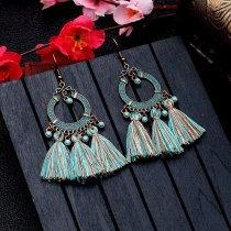 Bohemian Holiday Accessories European and American Fashion Alloy Earring Long Fringe Earrings Ladies Personalized Jewelry