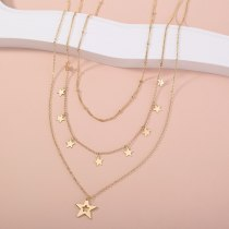 European Necklace Ornament Simple Star Tassel Pendant Multi-Layer Metal Necklace Personalized Creative Clavicle Chain