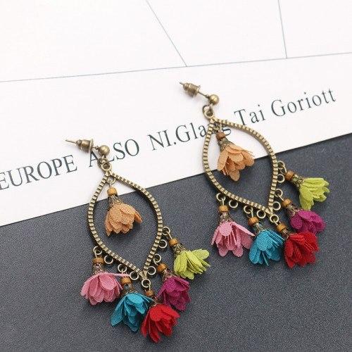 Wholesale New Creative Flower Earrings Female Hot Sale in Europe and America Geometric Chiffon Pendant Tassel Earrings