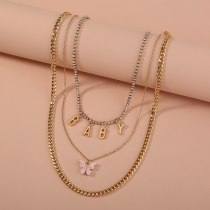 European New Simple Sweet Necklace Pink Acrylic Butterfly Necklace Letter Baby Pendant Multi-Layer Rhinestone Necklace