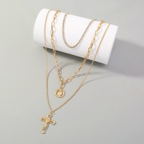 European Popular Necklace Ornament Retro Luxury Grab Chain Diamond Cross Multi-Layer Necklace round Brand Character Necklace