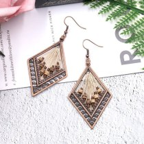 Fashion Personality European and American Trend New Hand-Woven Earrings Creative Diamond Wooden Bead Accessories Ornament