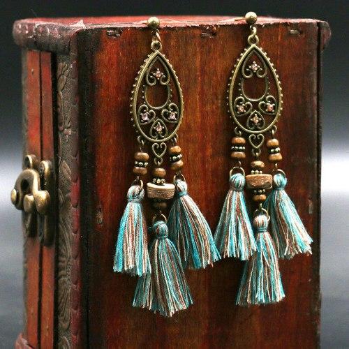 European and American Tassel Earrings Bohemian Earrings Personalized Pendant Creative Droplet Type Wooden Bead Eardrop Jewelry