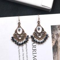 European and American Earrings Women's Retro Crystal Earrings Japanese and Korean Simple Ethnic Style Tassel Accessories