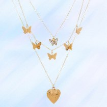 European Necklace Jewelry Exquisite Butterfly Tassel Necklace Trendy Peach Heart Photo Box DIY Multi-Layer Twin Necklace Women