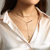 Japanese and Korean Creative Ornament Personalized All-Match Pearl Stitching Long Pendant Moon Crescent Necklace Clavicle Chain