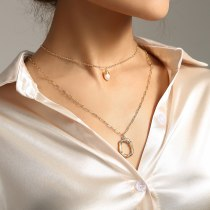 Europe and America Letter O Simple Double Layer Necklace Handmade Winding Natural Freshwater Pearl Pendant Ornaments