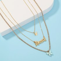 European and American Necklace Ornament Multi-Layer Personality Butterfly Necklace Retro Fashion Letter Clavicle Chain Female
