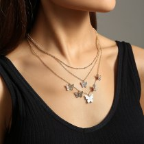 INS Multi-Layer Butterfly Necklace Women's Exquisite Girl's Simple Retro Diamond-Embedded Clavicle Chain Necklace