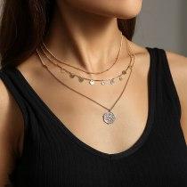 European and American Fashion Personality Necklace round Tassel Vintage Roman Portrait Pendant Multi-Layer Necklace