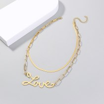 Europe and America New Simplicity and Exaggeration Love Letter Twin Necklace Flat Gold Necklace Texture Plaid Chain Necklace