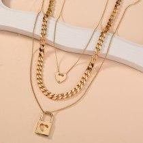 European New Necklace Ornament Fashion Vintage Chain Peach Heart Multi-Layer Necklace Geometric Lock Pendant Sweater Chain