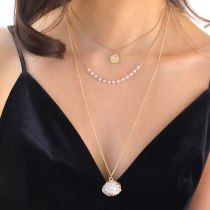 Fashion Women's Multi-Layer Necklace Coin Necklace Handmade Pearl Natural Shell Necklace