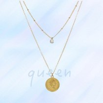 Europe and America Cross Border Popular Fashion Retro Coin Necklace Simple Zircon Necklace for Women
