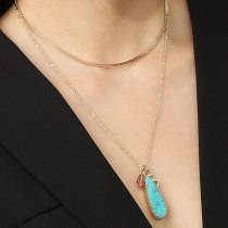 Ornament Simple Style All-Match Fashion Edge Blue Europe and America Cross Border Water Drop Pendant Double-Layer Necklace