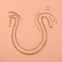 European Necklace Exaggerated Street Shot Thick Plaid Chain Jewelry Luxury Diamond-Embedded Multi-Layer Detachable Necklace