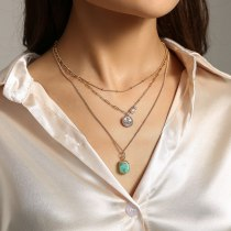 European and American New Necklace Hot Selling Simple Multi-Layer Necklace Wafer Metal Green Resin Trendy All-Matching Necklace