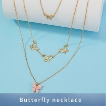 European Fashion Necklace jewelry Elegant Versatile Multi-Butterfly Tassel Necklace Personality Multi-Layer Twin Necklace
