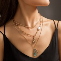European And American New Necklace Ornament Imitation Pearl Simple All-Match Necklace Resin Pendant Plaid Chain Necklace